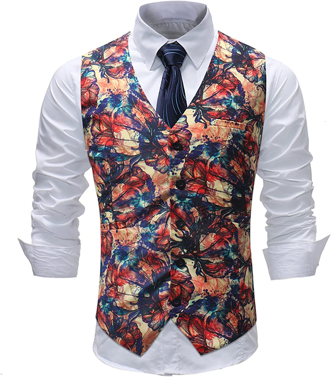 Men's Floral Jacquard Waistcoats Formal Classic Plaid Waistcoat Wedding Casual Party Business Fit Suit Vest with Pockets