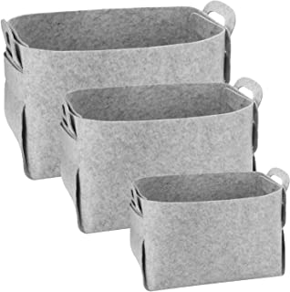 Awekris Felt Storage Baskets Bins 3 Pack Foldable Storage Baskets with Handles Large Storage Cube for Organizing, Closet, ...