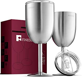 FineDine Premium Grade 18/8 Stainless Steel Wine Glasses 12 Oz. Double-Walled Insulated Unbreakable Goblets (Set of 2) Stemmed Wine Glass BPA-Free Leak Resistant Lid for Red White Wine, Brushed Metal