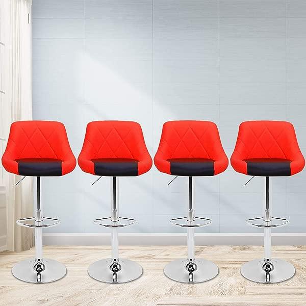 Magshion Faux Leather Bar Stools Adjustable 360 Degree Swivel Backrest Footrest Barstool Set Of 4 Style02 Red Black