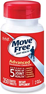 Move Free Glucosamine 1500mg (per serving) & Chondroitin - Advanced Joint Support Tablets (350 Count In A Bottle), For Joint Health, Supports Mobility Flexibility Strength Lubrication and Comfort