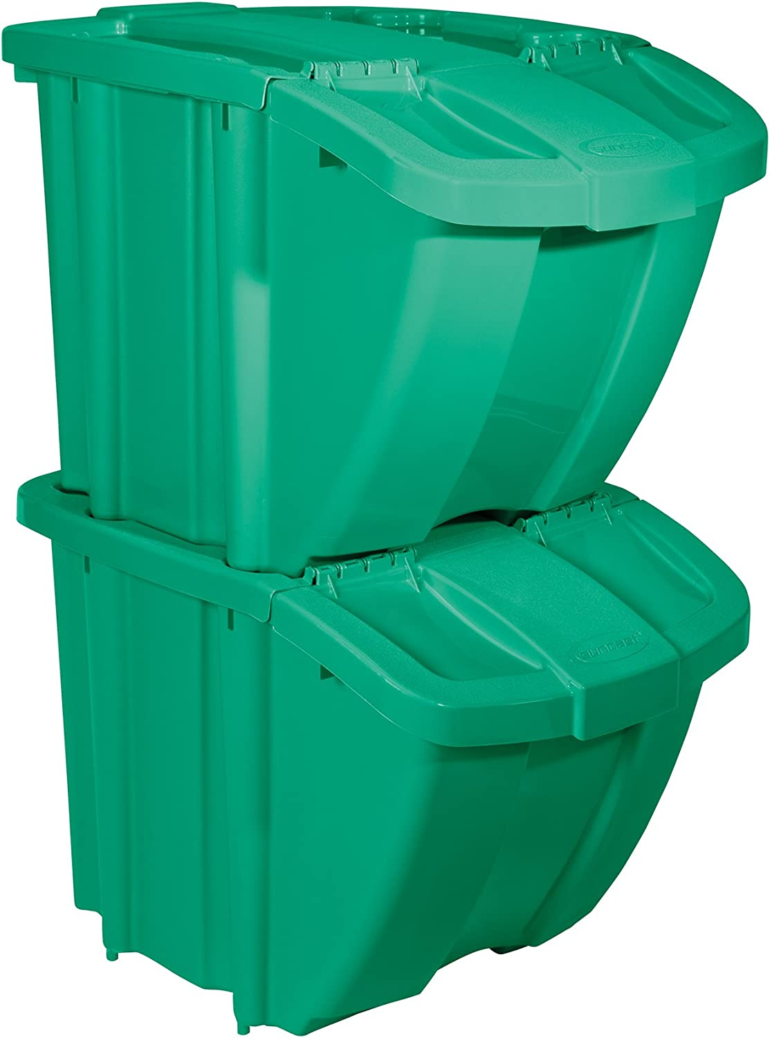 Suncast 18 Gallon Recycle Bin Green Organizer Stackable Super sale period limited Kit specialty shop