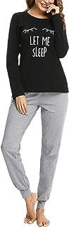 Sykooria Conjunto de Pijama para Mujer Algodón de Manga Larga Top y Pantalones Ropa de Dormir Suave para Mujer Pjs Lounge ...