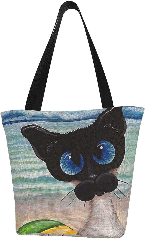 Siamese Cat Beach Beach Ball Summer Themed Printed Women Canvas Handbag Zipper Shoulder Bag Work Booksbag Tote Purse Leisure Hobo Bag For Shopping