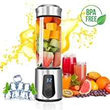 Personal Blender,AUZKIN Cordless Portable Blender Rechargeable USB Juicer Blender Small Blender - Juice,Shakes,Smoothies,Baby Food on the go Outdoor Travel Office,Borosilicate Glass,BPA Free,15OZ
