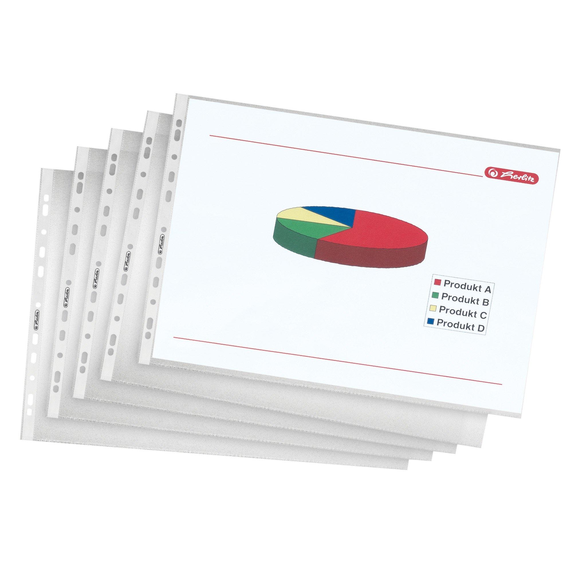 Herlitz Pack - Paquete de 10 portafolios de plástico A3, transparente: Amazon.es: Oficina y papelería