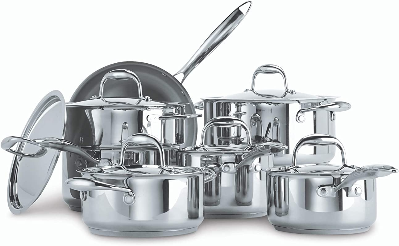 Paderno Canadian Signature 13 Piece Stainless Steel Clad Cookware Set Kitchen Pots And Pans Set With Covered Steamer
