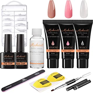 Makartt Poly Nail Extension Gel Kit, Clear Soft Pink Nude Nail Builder Enhancement Gel with Slip Solution Trail Kit DIY Nail Art Equipment Set for Beginner P-68
