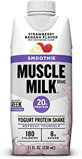 Muscle Milk Smoothie Protein Yogurt Shake, Strawberry Banana, 20g Protein, 11 FL OZ, 12 Count