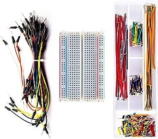 DaFuRui Breadboard Jumper Kit with 400-Point Breadboard + 65pcs Multiple Sizes M/M Jumper Wire + 140 Pieces Preformed Jumper Wire Kit