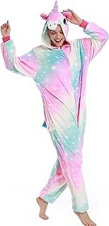 Adult Onesie for Women,Unicorn Pyjamas Costume Fleece One-Piece Halloween Cosplay Pjs Birthday Gifts