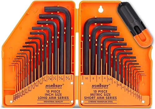 "popular HORUSDY 30-Piece Hex Key outlet online sale Set, Allen sale Wrench Set Inch/Metric MM(0.7mm-10mm) SAE(0.028""-3/8) online"