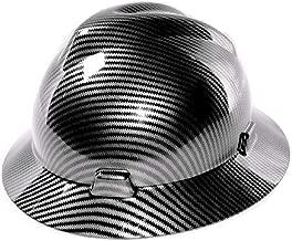 Safety Hard Hat Full Brim 6 Point Ratcheting System, Meets ANSI Z89.1, Personal Protective Equipment Carbon Fiber Design [Black]