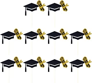 TOYANDONA 10pcs Graduation Cake Topper Paper Doctor Cap Cupcake Toppers Congrats Cake Sign Insert Cards Ornaments for 2021...