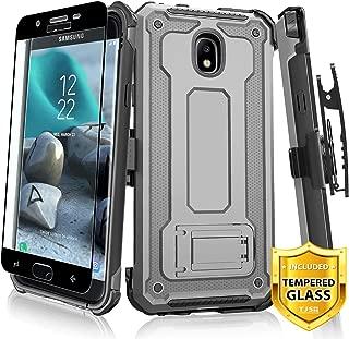 TJS Case for Samsung Galaxy J7 2018/J7 Refine/J7 Star/J7 Eon/J7 TOP/J7 Aero/J7 Crown/J7 Aura Case, [Full Coverage Tempered Glass Screen Protector] 360° Belt Clip Holster Kickstand (Grey/Black)
