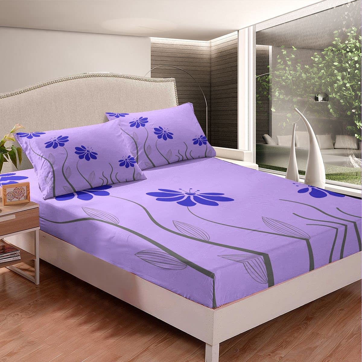 Max 47% OFF Daisy Floral Bed Sheet Popular standard Set Decor Striped Leav with Petals