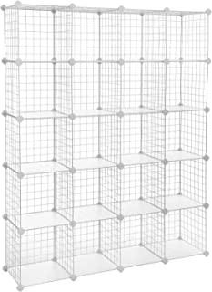 SONGMICS Wire Cube Storage, 20-Cube Modular Rack, Storage Shelves, PP Plastic Shelf Liners Included, 48.4