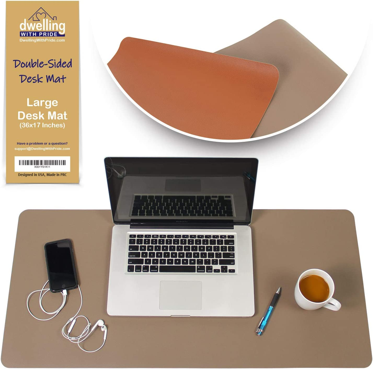Desk Mat Brown & Dark Brown 17x36 - Computer, Laptop, Keyboard & Mouse Pad Organizer - Leather Cover Office Table Protector - Double Side Gaming Surface with Colors - Typing & Writing Accessories