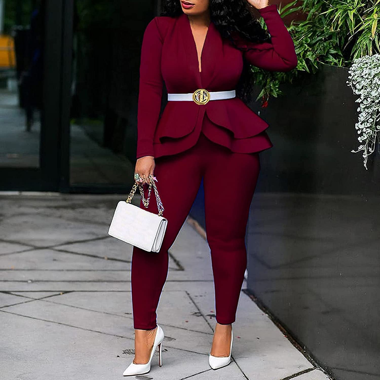 Sexy 2 Piece Outfits for Women Blazer with Pants Long Sleeve Slim Fit Ruffle Pelplum Business Suit