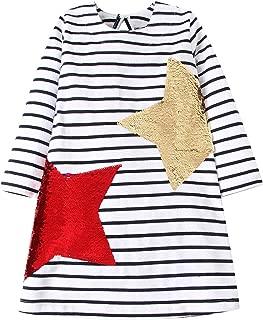 Áo quần dành cho bé gái – Girls Dress Reversible Sequin Soft Cotton Long Sleeve Party Casual Dress Cute 2-7 Years