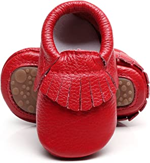 Leather Baby Moccasins Hard Soled Tassel Crib Toddler Shoes for Boys and Girls