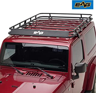 EAG 2 Door Roof Rack Cargo Basket with Wind Deflector Fit for 07-18 Jeep Wrangler JK