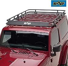 EAG 2 Door Roof Rack Cargo Basket with Wind Deflector Fit for 07-18 Jeep Wrangler JK