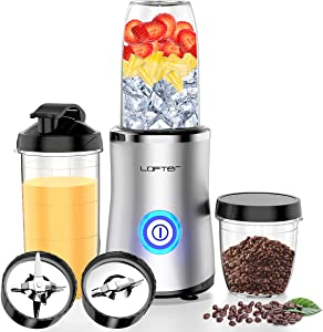 Professional Personal Blender, LOFTER Countertop Blender High-Speed Mixer/Juicer for Shakes and Smoothies, Freely Switching of Mixing Base for Frozen Fruits and Coffee Bean, 24000 rpm with 3 BPA free Cups