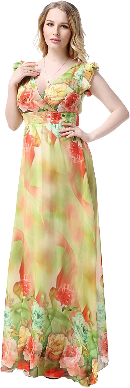 Myosotis510 Women's Maxi Dress Boho Print Tie-Waist Split Wrap Cardigan Cover Ups