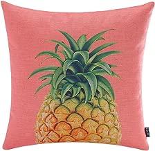 TRENDIN 18 X 18 Vintage Pink Color Big Pineapple Tropical Summer Fruits Linen Pillow Case Cushion Cover Decorative(PL069TR)