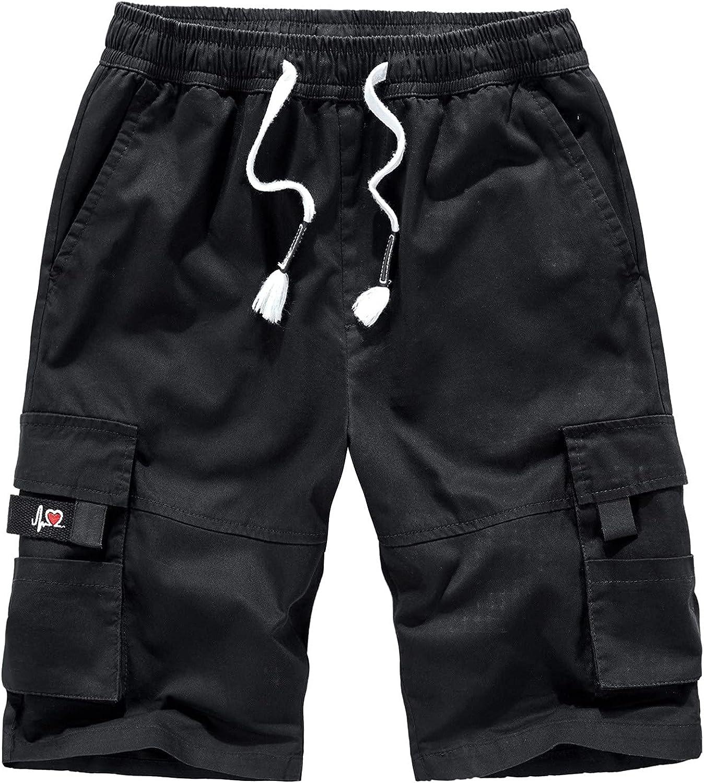YANG-YI Men's Cargo Shorts Summer Drawstring Sweat Shorts Casual Sports Jogging Bottoms