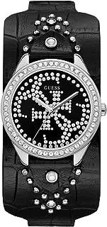 Women's Stainless Steel Quartz Watch with Leather Calfskin Strap, Black, 35.4 (Model: U1140L1)