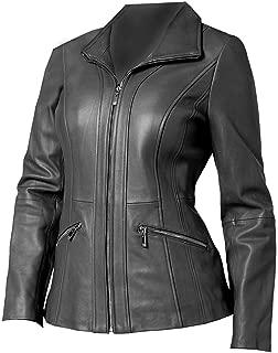 VearFit Fantam Casual Designer Tan, Gray, Pink, Red and Black Women Leather Blazar Coat