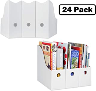 Magazine File Holder (Set of 24, White), Sturdy Cardboard Magazine Holder, Folder Holder, Magazine Organizer, Folder Organizer, Magazine Box, File Storage, or Book Bins for Classroom Library Organizer