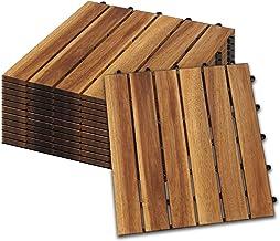 Hengda Houten Tegels 33 stuks Splicing vloer Balkon Terras ca. 3qm acaciahout FSC®-Gecertificeerd Tegels van 30 x 30 cm