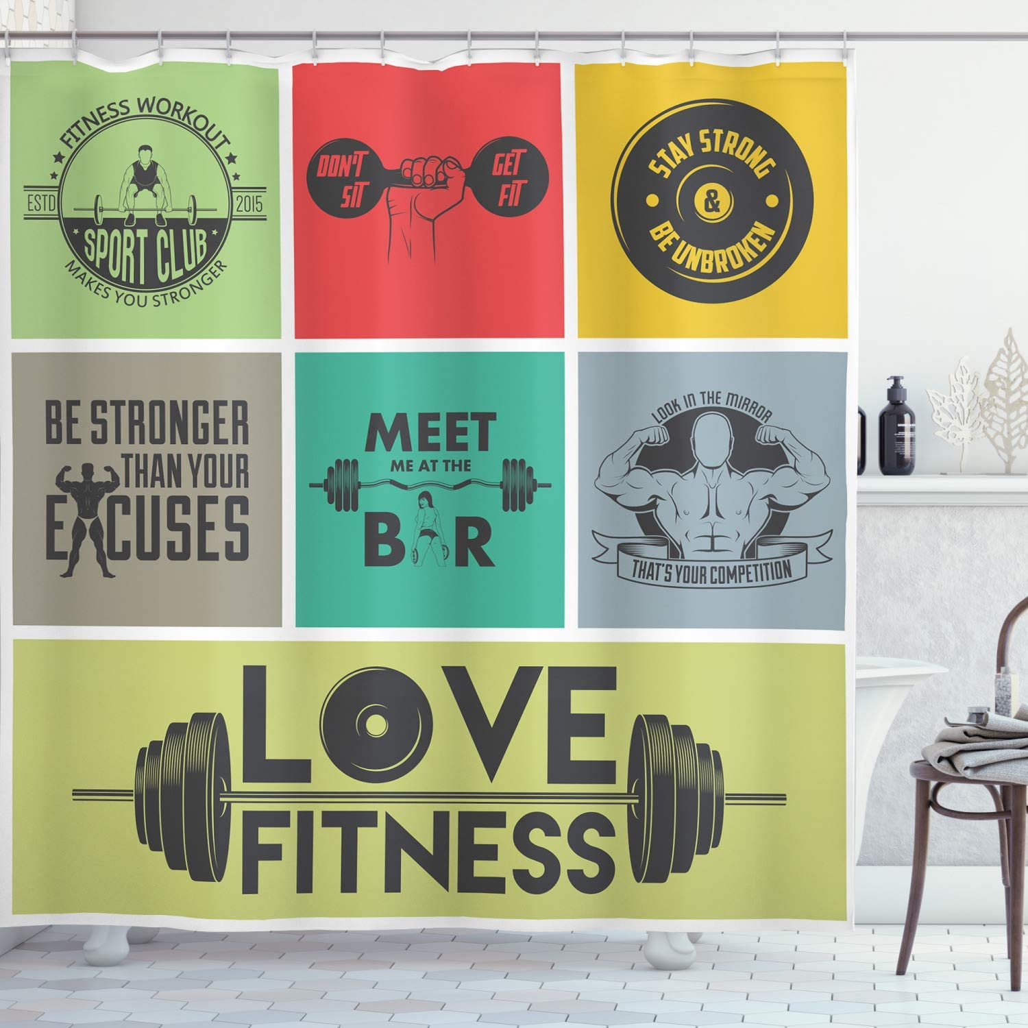 Max 46% OFF Ambesonne Fitness Shower Sales results No. 1 Curtain in Words Motivational Various