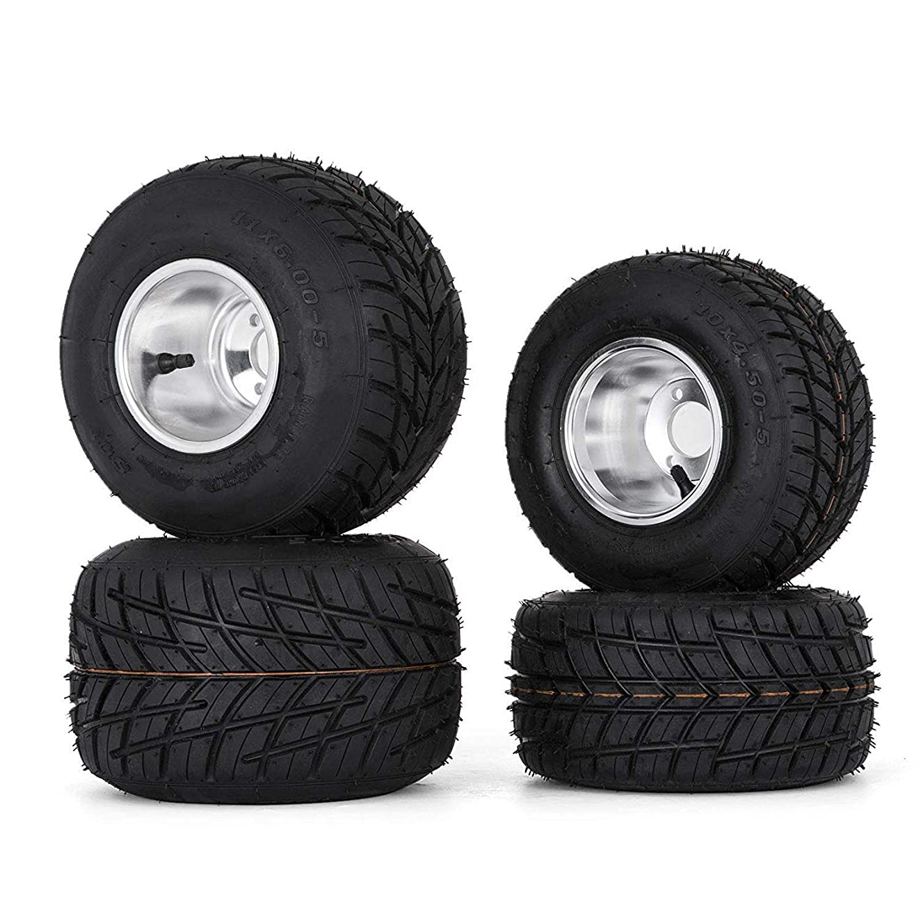 Bestauto Go Kart Tires and Rims 10x4.50-5 Front 11x6.0-5 Rear Go Kart Wheels and Tires Sets of 4