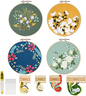 Mlife 4 Sets Embroidery Kit for Starter, Full Range of Hand Embroidery Cross Stitch Kit with Instructions, Floral Pattern, Embroidery Hoops, Color Threads and Scissors