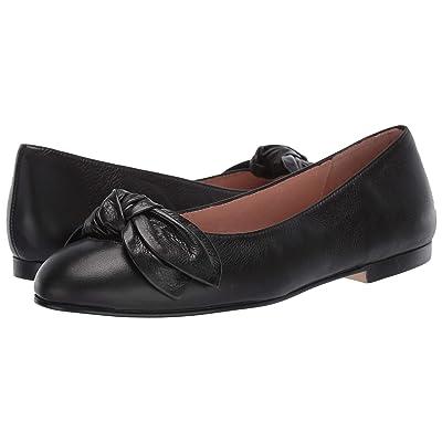 French Sole Devout Bow Flat (Black Leather) Women