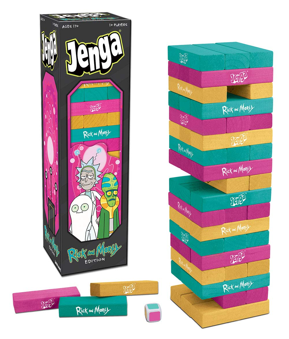 Jenga: Rick and Morty | Juego clásico de Bloques de Madera Jenga | con Ilustraciones, Personajes y más de Rick and Morty Show | Cartoon Network Rick & Morty: Amazon.es: Juguetes y juegos