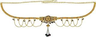 Memoir Brass Gold Plated, Kundan Meenakari, Cross Jhalar Pattern with Pearl Tassled, Stylish Traditional, Waist Belt, Bell...