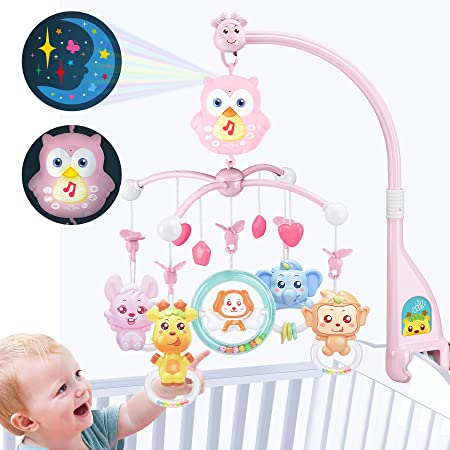 YuanLeBao Baby Mobile for Crib Musical Toy, Crib Toys with Night Light and Music,Touch Control Toys,Projection, Rotation,Timing,rattles, Baby Toy for Remote Control, Toy for Newborn(Pink)