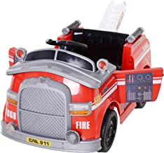 Aosom 6V Electric Ride-On Fire Truck Vehicle for Kids with Remote Control, Music, Lights, and Ladder