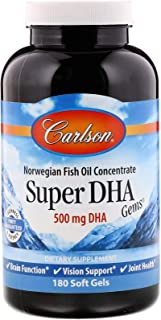 Carlson - Super DHA Gems, 500 mg DHA Supplements, 640 mg Fatty Acids, Wild-Caught Norwegian Arctic Omega 3 Fish Oil Supple...