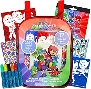 PJ Masks 12-Piece Coloring and Activity Backpack Bundle -- Childrens Drawing Pads and Books with Stickers and Markers and Bonus Stickers (PJ Masks Party Supplies)