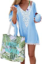 PINKMSTYLE Damen Chiffon Pom Pom Kaftan Badeanzug Strand Cover Up - Blau - Small-Medium