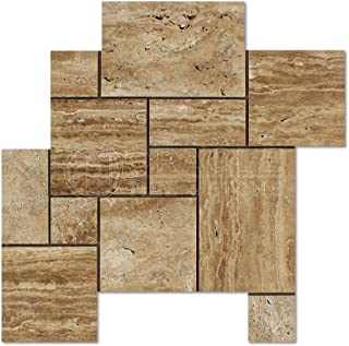 Noce Vein-Cut Travertine Opus Pattern Mosaic Tile, Polished (LOT of 5 SHEETS)