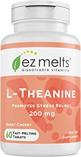 EZ Melts L-Theanine, 200 mg, Sublingual Vitamins, Vegan, Zero Sugar, Natural Cherry Flavor, 60 Fast Dissolv...