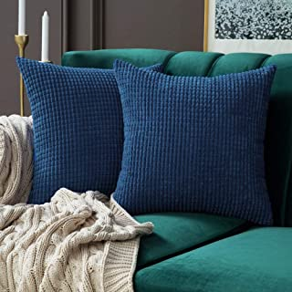 MIULEE Pack of 2 Decorative Throw Pillow Covers Soft Corduroy Solid Cushion Case Navy Blue Pillow Cases for Couch Sofa Bedroom Car 18 x 18 Inch 45 x 45 cm