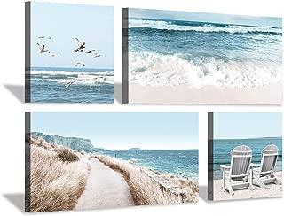 Coastal Beach Canvas Wall Art: Beach Chairs & Seagulls Flying Picture Painting Print for Wall Decor(12''x12''x2pcs+24''x12''x2pcs)